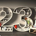 Kostenlose Geburtstagskarte Happy Birthday mit Spruch zum 23. Geburtstag