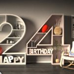 Kostenlose Geburtstagskarte Happy Birthday mit Spruch zum 24. Geburtstag