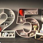 Kostenlose Geburtstagskarte Happy Birthday mit Spruch zum 25. Geburtstag