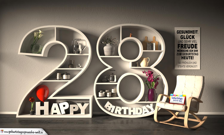 Kostenlose Geburtstagskarte Happy Birthday mit Spruch zum 28. Geburtstag