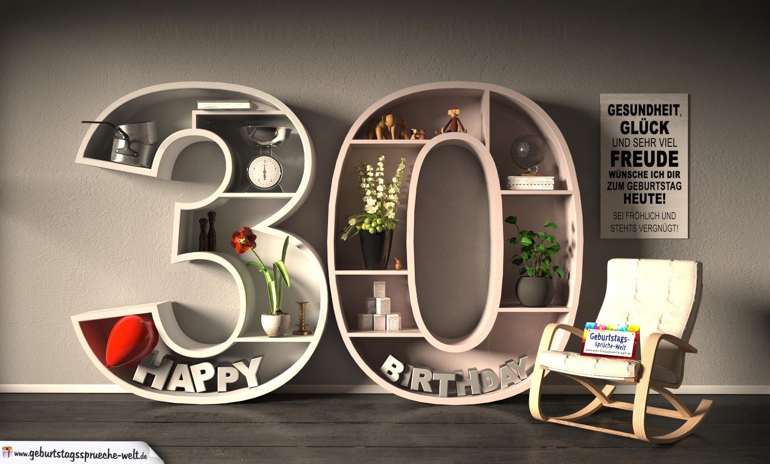 kostenlose geburtstagskarte happy birthday mit spruch zum 30 geburtstag geburtstagsspr che welt. Black Bedroom Furniture Sets. Home Design Ideas