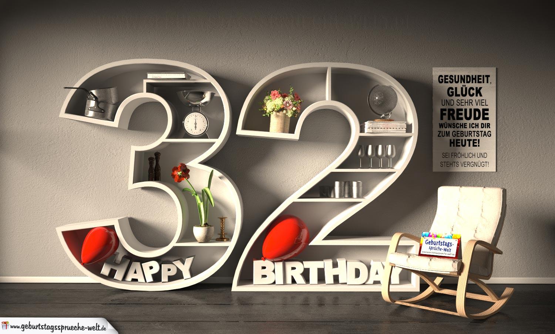 Kostenlose Geburtstagskarte Happy Birthday mit Spruch zum 32. Geburtstag