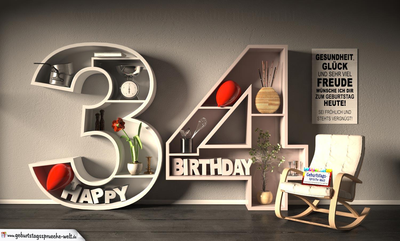 Kostenlose Geburtstagskarte Happy Birthday mit Spruch zum 34. Geburtstag