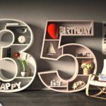Kostenlose Geburtstagskarte Happy Birthday mit Spruch zum 35. Geburtstag
