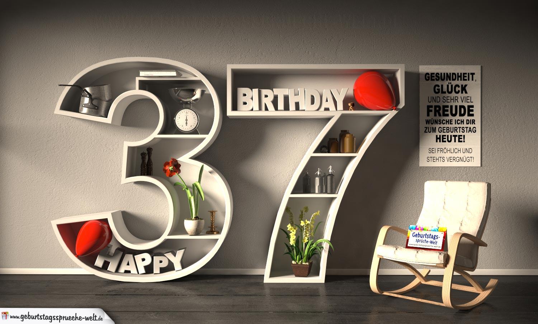 Kostenlose Geburtstagskarte Happy Birthday mit Spruch zum 37. Geburtstag