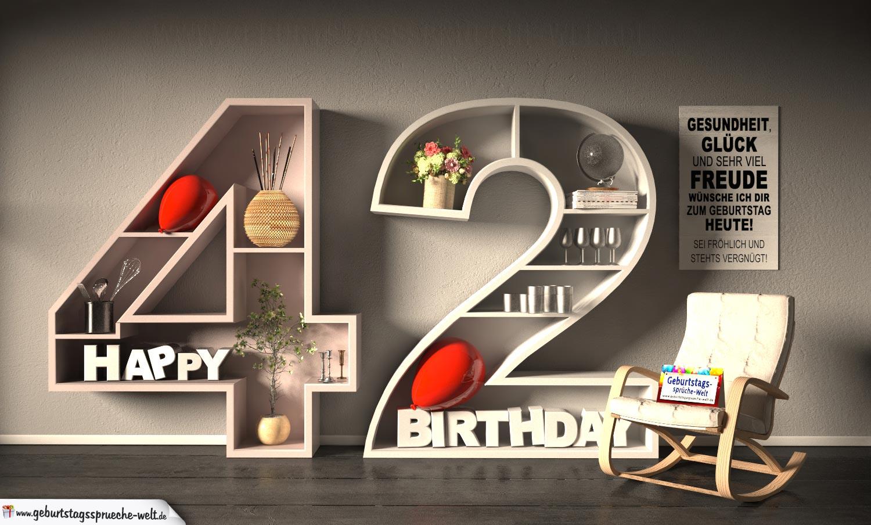 Kostenlose Geburtstagskarte Happy Birthday mit Spruch zum 42. Geburtstag