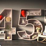 Kostenlose Geburtstagskarte Happy Birthday mit Spruch zum 45. Geburtstag