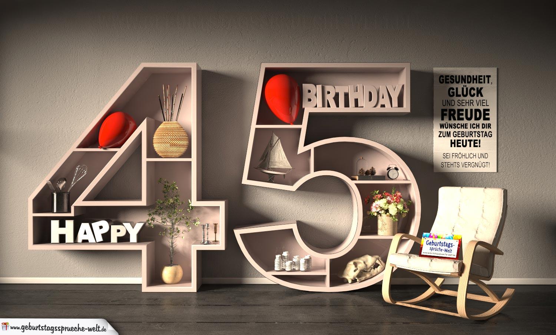 Kostenlose Geburtstagskarte Happy Birthday mit Spruch zum