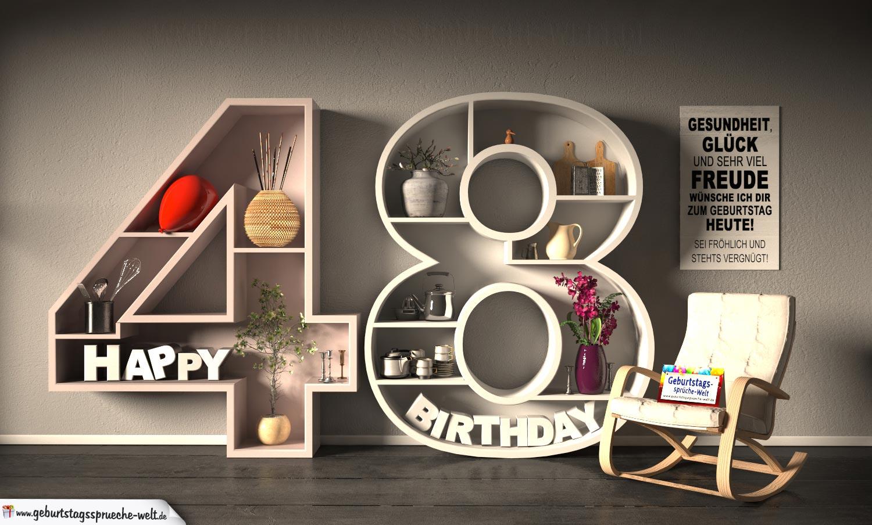 Kostenlose Geburtstagskarte Happy Birthday mit Spruch zum 48. Geburtstag