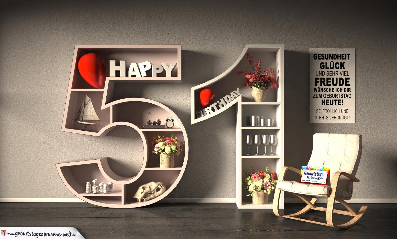 Kostenlose Geburtstagskarte Happy Birthday mit Spruch zum 51. Geburtstag