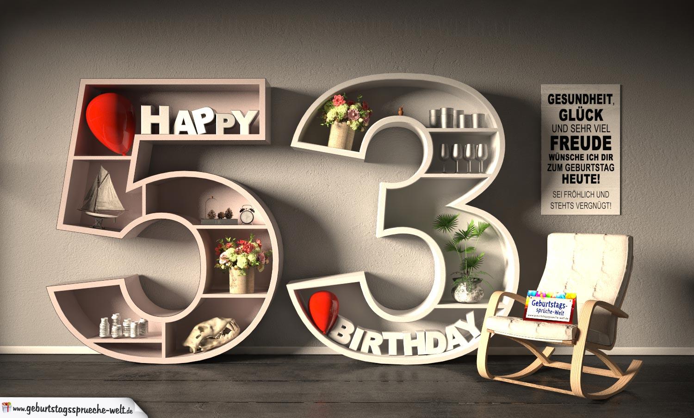 Kostenlose Geburtstagskarte Happy Birthday mit Spruch zum 53. Geburtstag