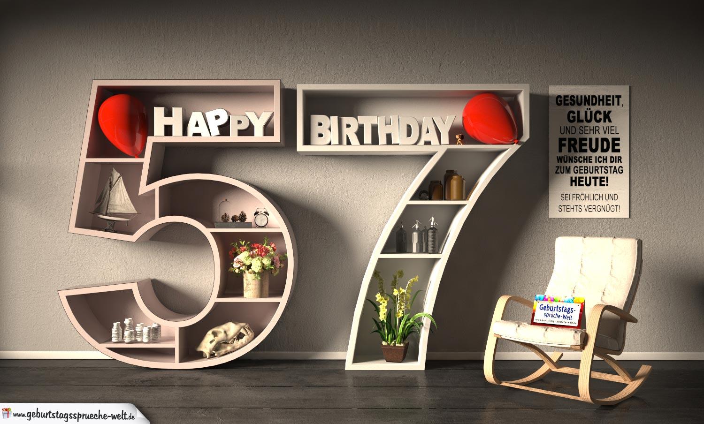 Kostenlose Geburtstagskarte Happy Birthday mit Spruch zum 57. Geburtstag