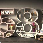 Kostenlose Geburtstagskarte Happy Birthday mit Spruch zum 58. Geburtstag