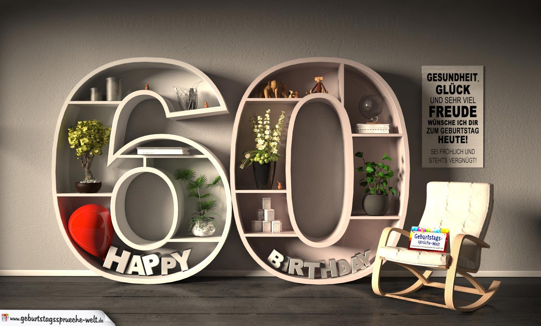 Kostenlose Geburtstagskarte Happy Birthday Mit Spruch Zum 60
