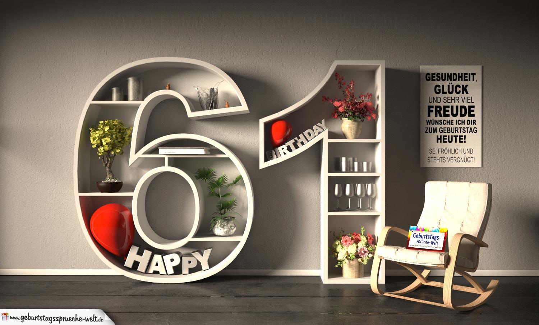 Kostenlose Geburtstagskarte Happy Birthday mit Spruch zum 61. Geburtstag