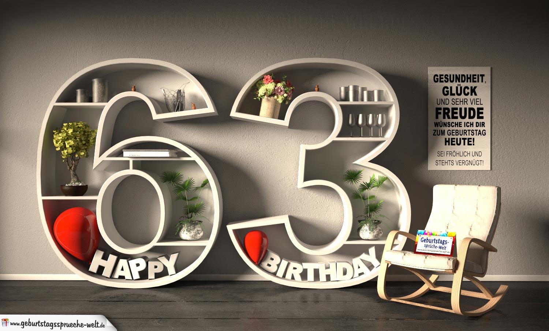 Kostenlose Geburtstagskarte Happy Birthday Mit Spruch Zum 63