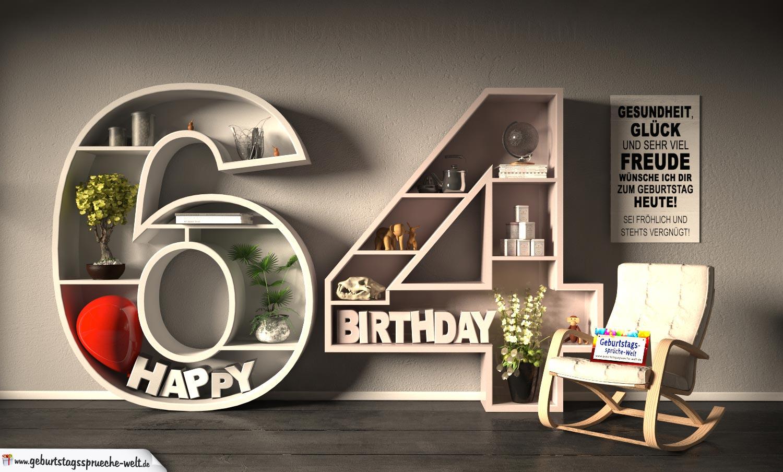 Kostenlose Geburtstagskarte Happy Birthday mit Spruch zum 64. Geburtstag