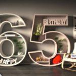 Kostenlose Geburtstagskarte Happy Birthday mit Spruch zum 65. Geburtstag
