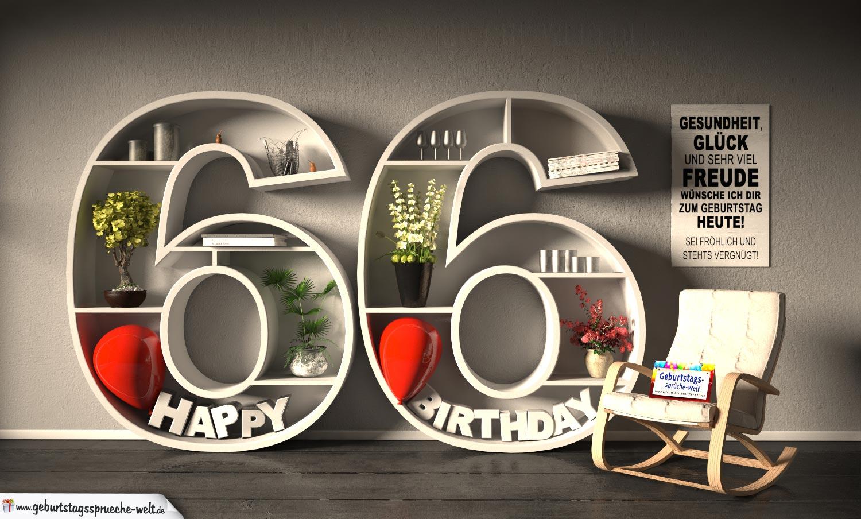 Kostenlose Geburtstagskarte Happy Birthday mit Spruch zum 66. Geburtstag
