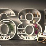 Kostenlose Geburtstagskarte Happy Birthday mit Spruch zum 68. Geburtstag
