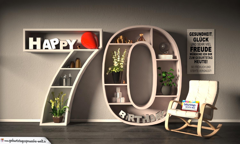 Kostenlose Geburtstagskarte Happy Birthday Mit Spruch Zum 70