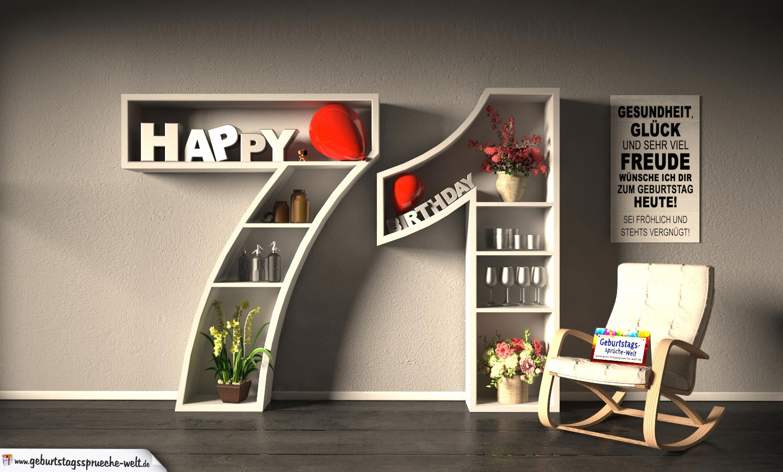 Kostenlose Geburtstagskarte Happy Birthday mit Spruch zum 71. Geburtstag