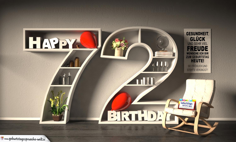 Kostenlose Geburtstagskarte Happy Birthday mit Spruch zum 72. Geburtstag