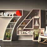 Kostenlose Geburtstagskarte Happy Birthday mit Spruch zum 74. Geburtstag