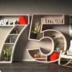 Kostenlose Geburtstagskarte Happy Birthday mit Spruch zum 75. Geburtstag