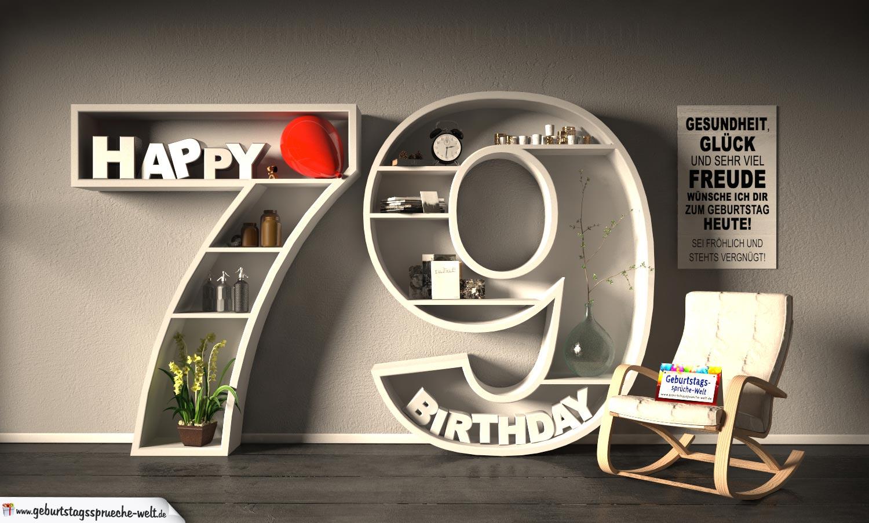 Kostenlose Geburtstagskarte Happy Birthday mit Spruch zum 79. Geburtstag