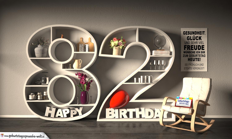 Kostenlose Geburtstagskarte Happy Birthday mit Spruch zum 82. Geburtstag