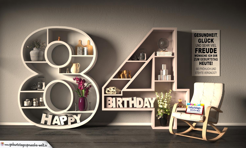 Kostenlose Geburtstagskarte Happy Birthday mit Spruch zum 84. Geburtstag