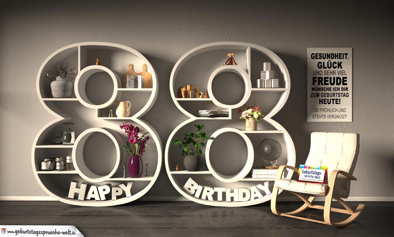 Kostenlose Geburtstagskarte Happy Birthday mit Spruch zum 88. Geburtstag