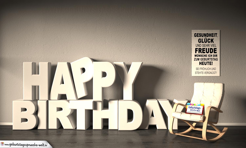 Kostenlose Geburtstagskarte Happy Birthday mit Spruch als Teil einer Wohnung