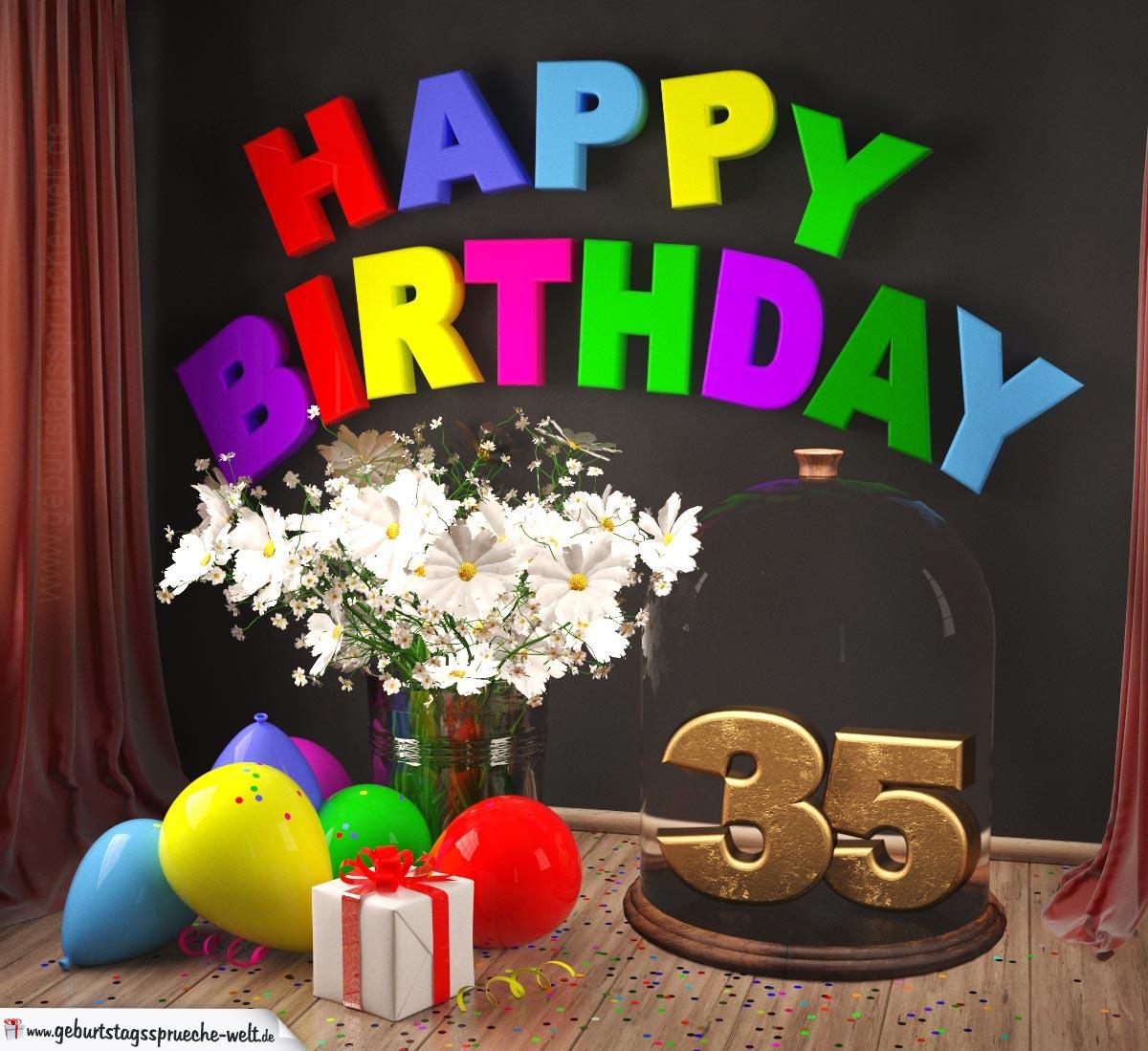 Happy Birthday 35 Jahre Glückwunschkarte mit Margeriten-Blumenstrauß, Luftballons und Geschenk unter Glasglocke