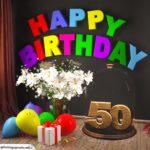 Happy Birthday 50 Jahre Glückwunschkarte mit Margeriten-Blumenstrauß, Luftballons und Geschenk unter Glasglocke