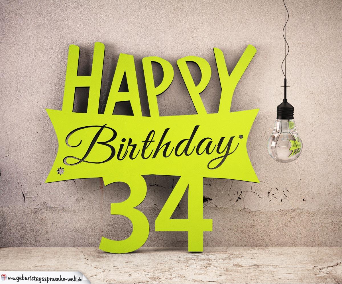 Holzausschnitt Happy Birthday 34. Geburtstag Spruch
