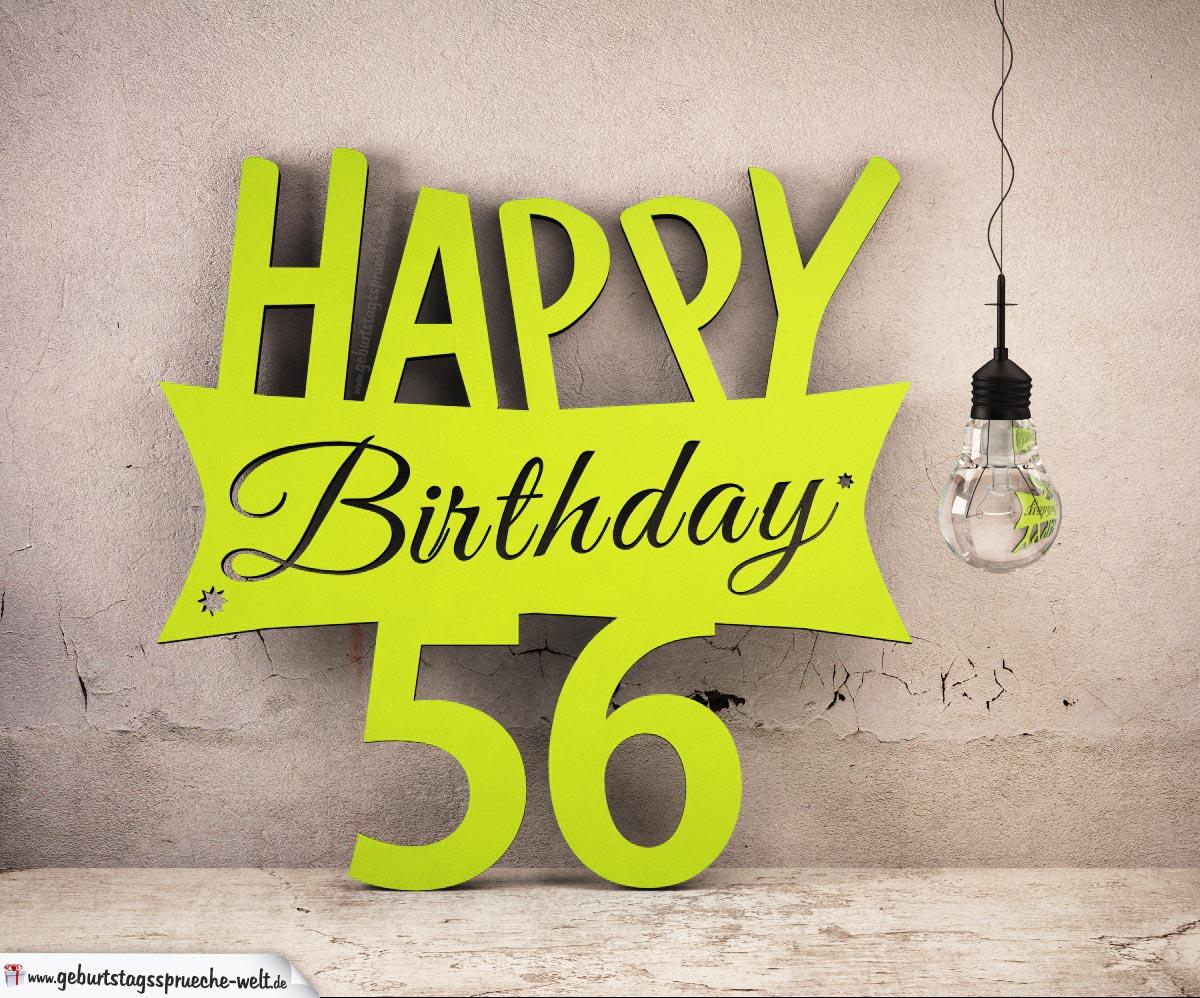 Holzausschnitt Happy Birthday 56. Geburtstag Spruch