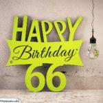 Holzausschnitt Happy Birthday 66. Geburtstag Spruch
