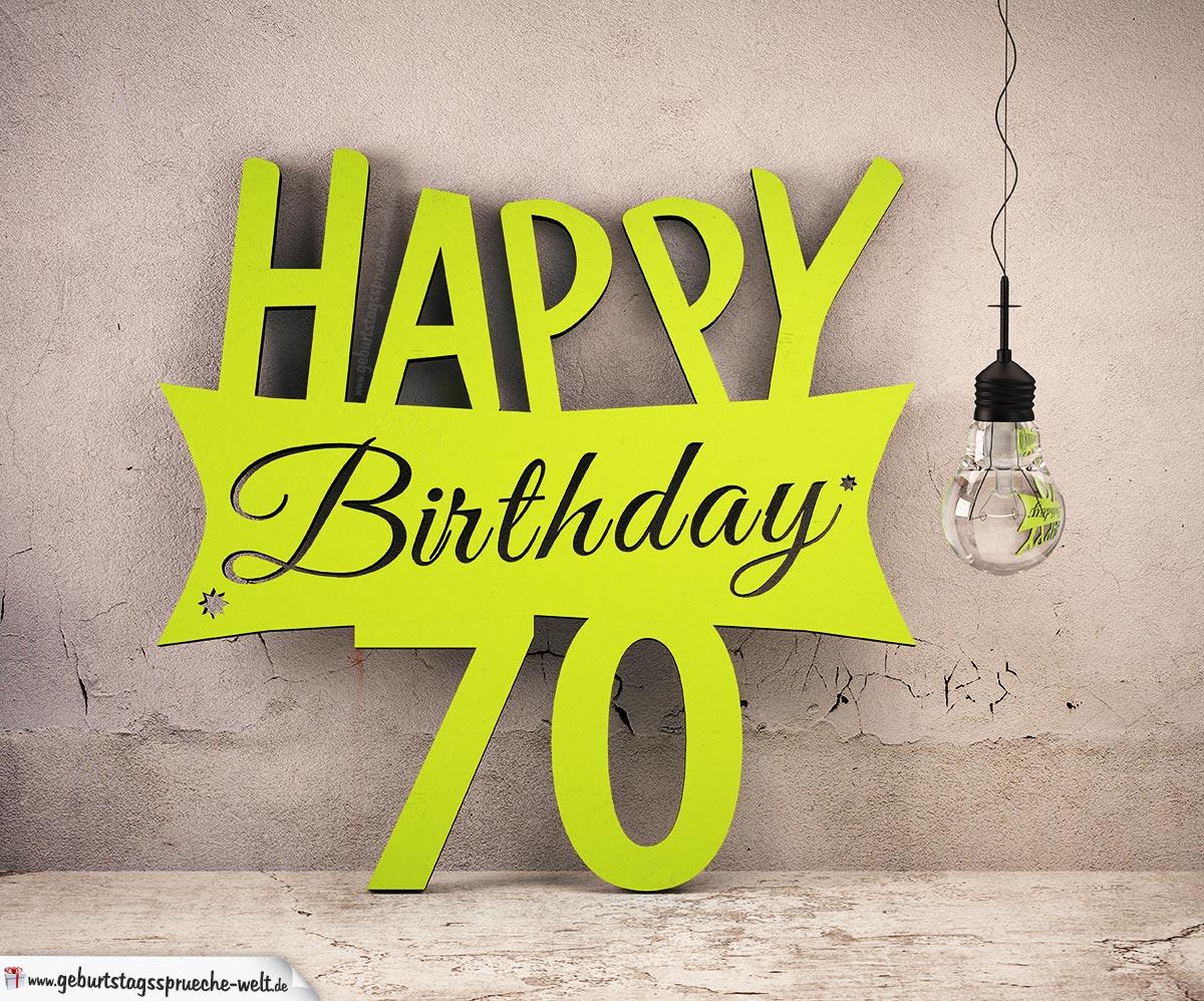 Holzausschnitt Happy Birthday 70 Geburtstag Spruch