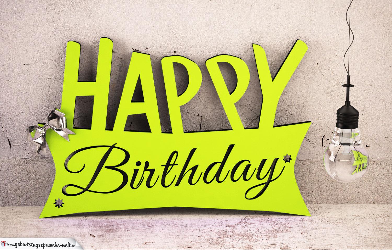 Holzausschnitt Happy Birthday zum Geburtstag Spruch