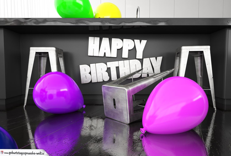 Happy Birthday Karte kostenlos - In der Küche Geburtstag feiern