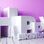 3D Happy Birthday Schriftzug mit Luftballon